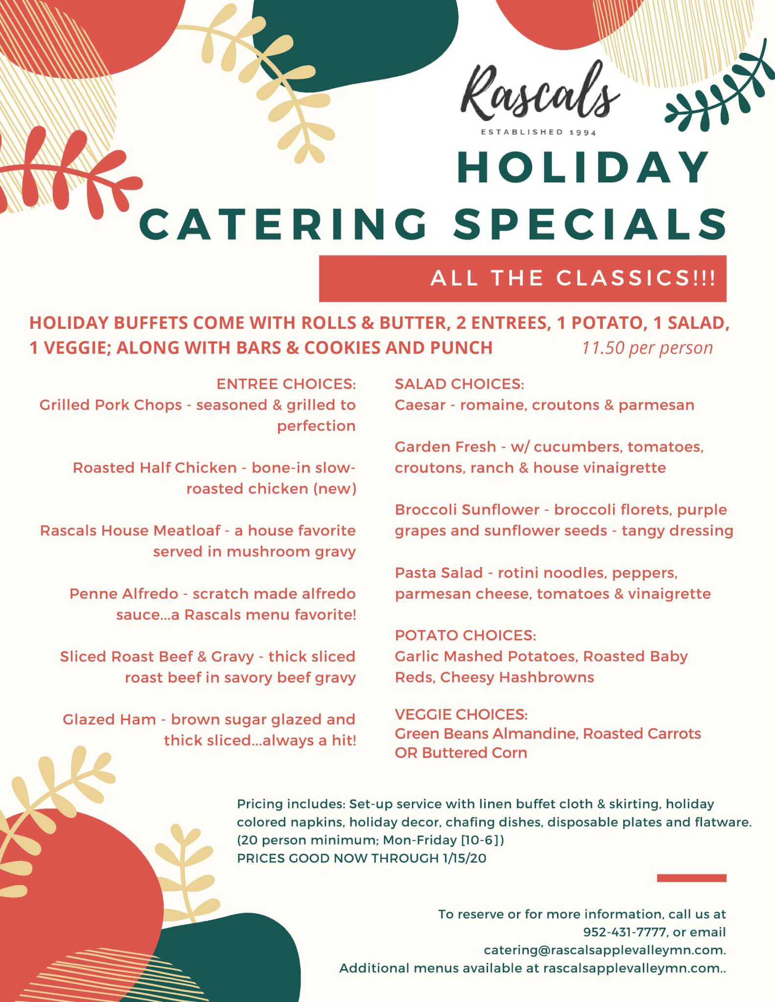 Holiday Catering Specials
